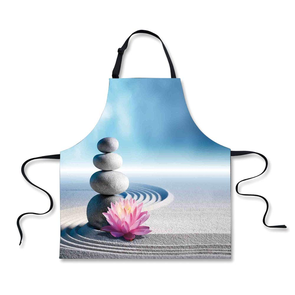 iPrint Personality Apron,Spa Decor,Stones and Lotus Flower Over Sand Meditation Harmony Balance Flourish Your Spirit Theme,Grey Blue Pink,Picture Printed Apron.29.5''x26.3''