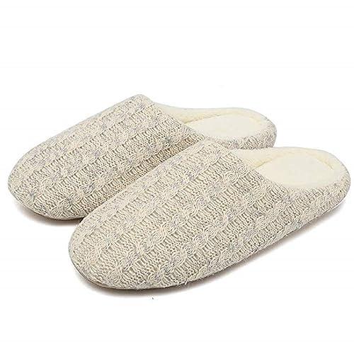 Zapatillas de Estar por Casa Mujer Invierno Pantuflas Tejido de Punto Suave Mijo EU 36/37: Amazon.es: Zapatos y complementos
