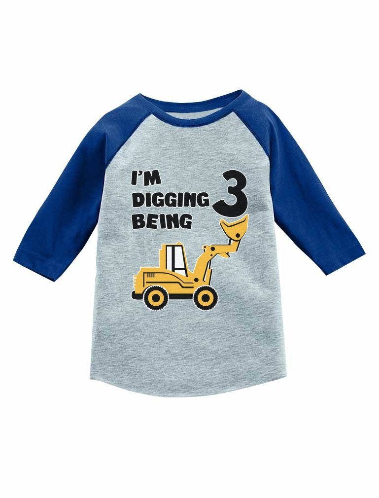 Tstars Construction Party 3rd Birthday Gift 3/4 Sleeve Baseball Jersey Toddler Shirt Blue 3T