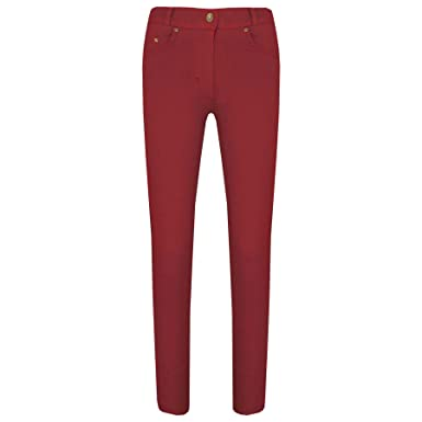 f8440f6d4eab8 Kids Skinny Jeans Girls Stretchy Jeggings Fit Pants Coloured Trousers 3-13  Years