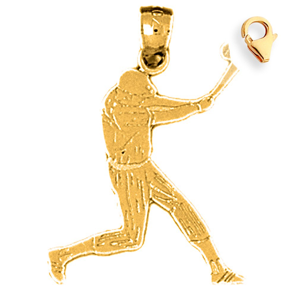 Silver Yellow Plated Baseball Player Charm 25mm