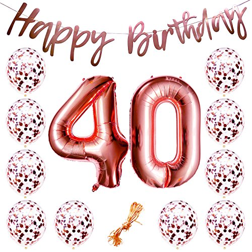 "40th Birthday Party Decorations Rose Gold Decor Strung Banner (HAPPY BIRTHDAY) & 12PC Helium Balloons w/Ribbon [Huge Numbers ""40"", Confetti] Kit Set Supplies 