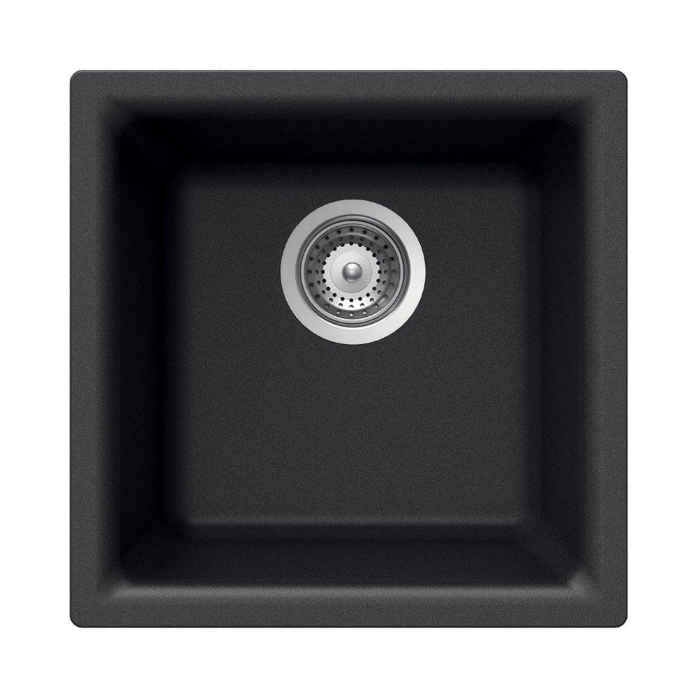 Houzer E-100 MIDNITE Quartztone Series Granite Dual Mount Bar/Prep Sink, Black (Renewed) by HOUZER
