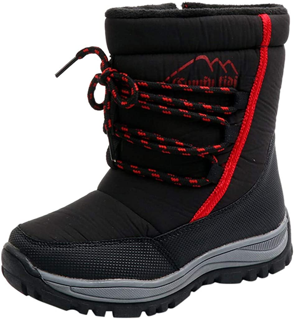 4.5-5 Years Old, Black Boys Girls Snow Boots Winter Waterproof Warm Shoes 4-9 Years Old Child Comfy Zipper Thicken Snow Bootie Shoes