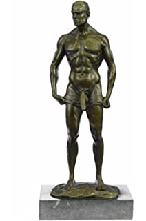 Handmade European Bronze Sculpture Signed Handcrafted Depict of Nude Gay Man Marble Base Figurine Bronze Statue