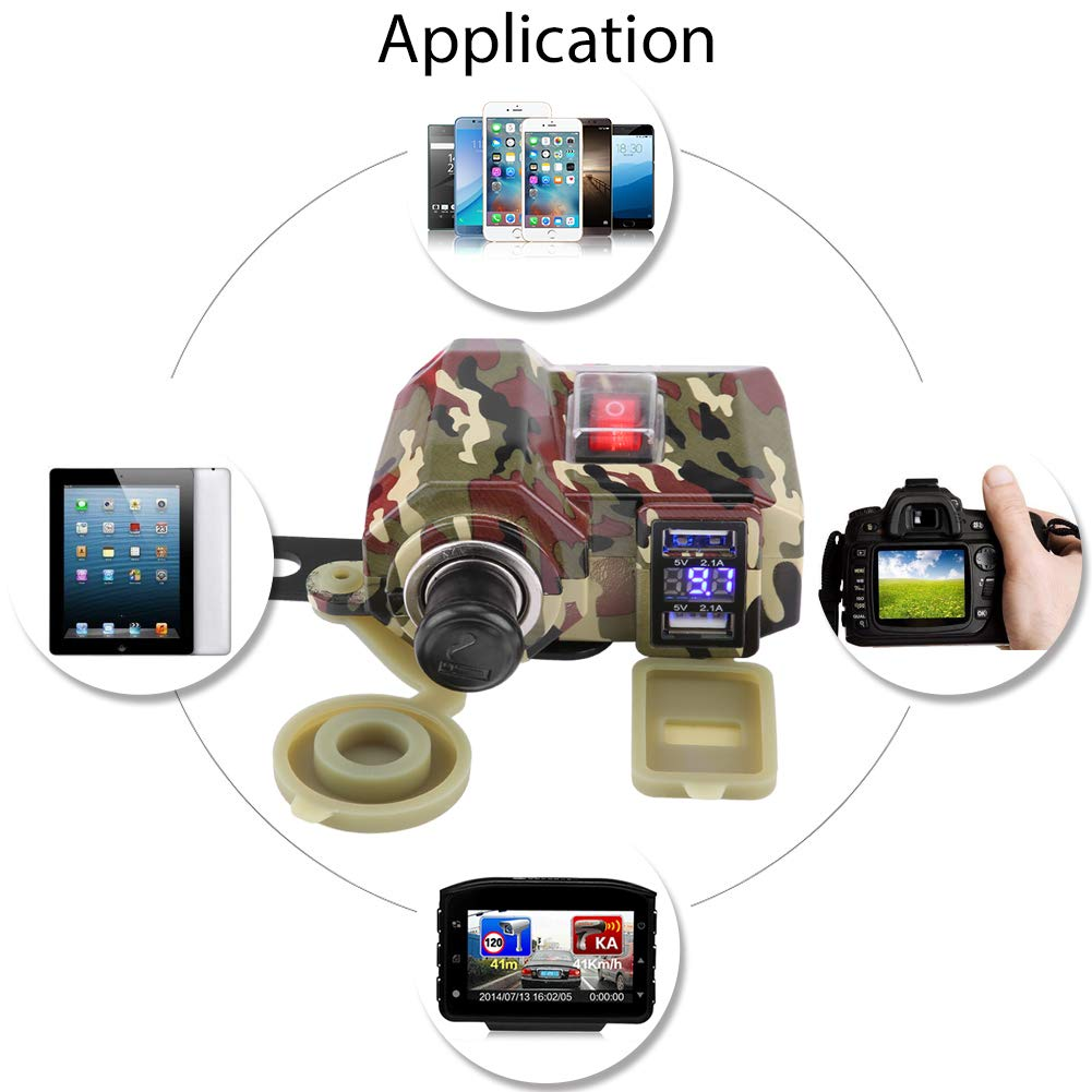 etc. KIMISS Qiilu 4.2A de Alta Velocidad de la Motocicleta de la Motocicleta Cargador USB Encendedor de Cigarrillos volt/ímetro Impermeable 12V para tel/éfono y Tableta y GPS