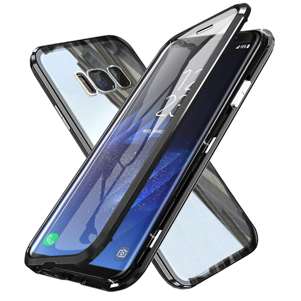 Oihxsetx Compatible for Galaxy A9 2018 Magnetic Adsorption Double Side Tempered Glass Case,Ultra-Thin Magnetic Metal Frame Full Body Protection Cover Support Wireless Charging -Black by Oihxsetx