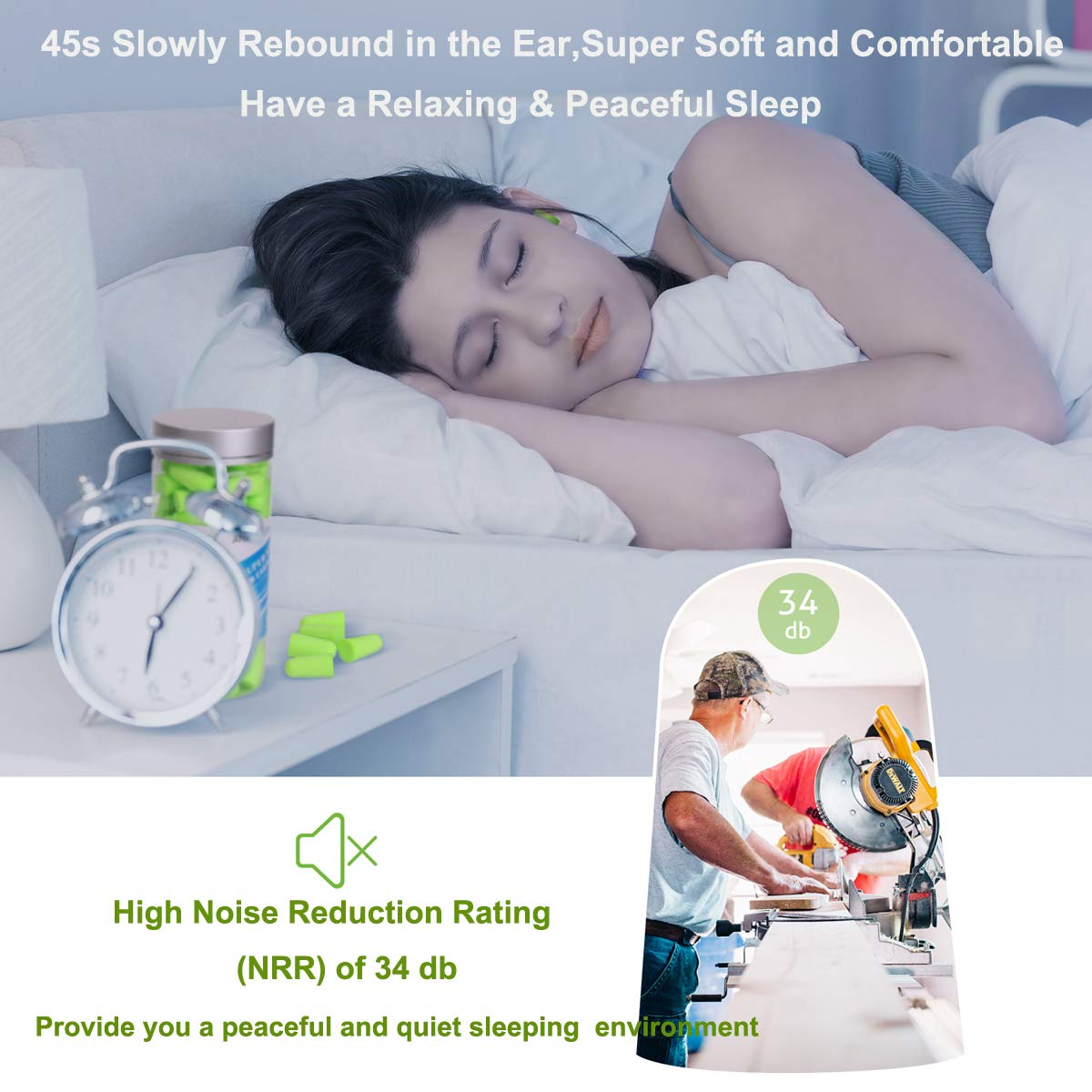 Soft Foam Earplugs,60 Pairs Noise Reduction Ear Plugs with NRR 32 Decibels for Sleeping,Working,Study,Travel and Noise Environment Green MOGOCO