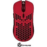G-Wolves HT-M 3360 - Mouse Ultra Leggero a Nido d'ape, Con Cavo, Fino a 12000 cpi, 6 Pulsanti, 61 g ( Rosso )