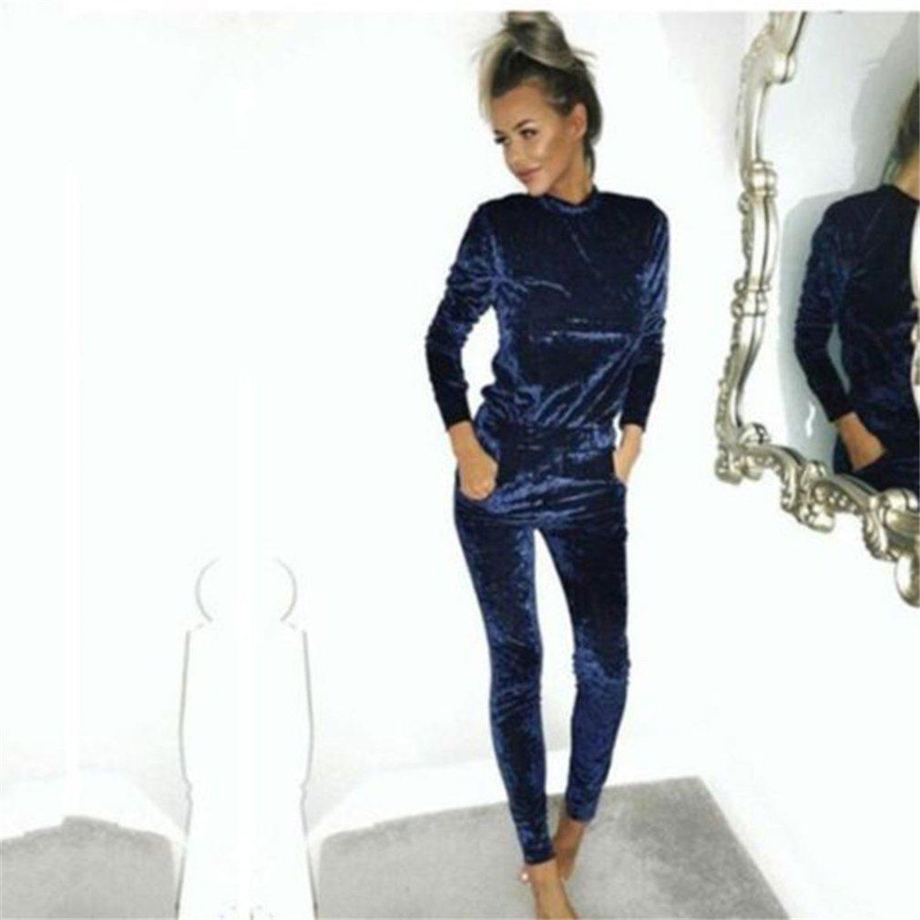 Hose Herbst und Winter Damen Sportbekleidung Freizeitmode SAMT Anzug Sportbekleidung Grau S LnLyin Damen Anzug Pullover