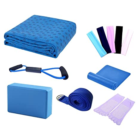 0b752cc738 LayOPO Yoga Starter Kit - 7 Piece Essentials Beginners Bundle Include Yoga  Towel,Yoga Blocks