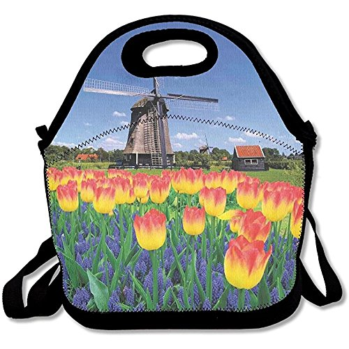 Windmill Countryside (Staroind Tulip Blooms With Classic Dutch Windmill Netherlands Countryside Spring Picture Lunch Bag Tote For School Work Outdoor)