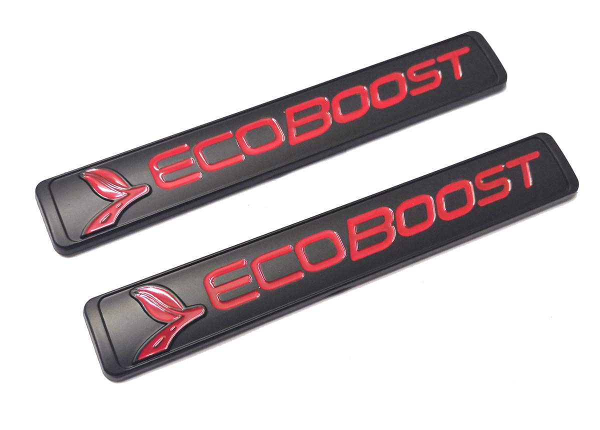 2x ECOBOOST Badge Emblem 3D Nameplate Replacement for SUV F150 ECOBOOST 2011-2018 Red Original Size Genuine Parts