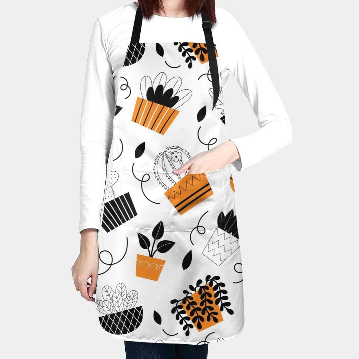 Urban Plants Apron Fashion Design Water Proof Baking Apron for Women with 2 Front Pockets and Adjustable Neck & Long Ties for Everyday Basic Home Kitchen Artist Crafting Restaurant