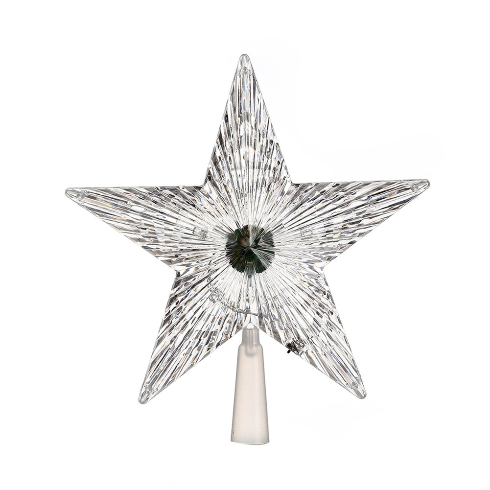 ZX101 Battery Powered Multicolor Star Treetop Flashing Lamp Pentagram Tree Topper Christmas Decoration Light Multicolor S