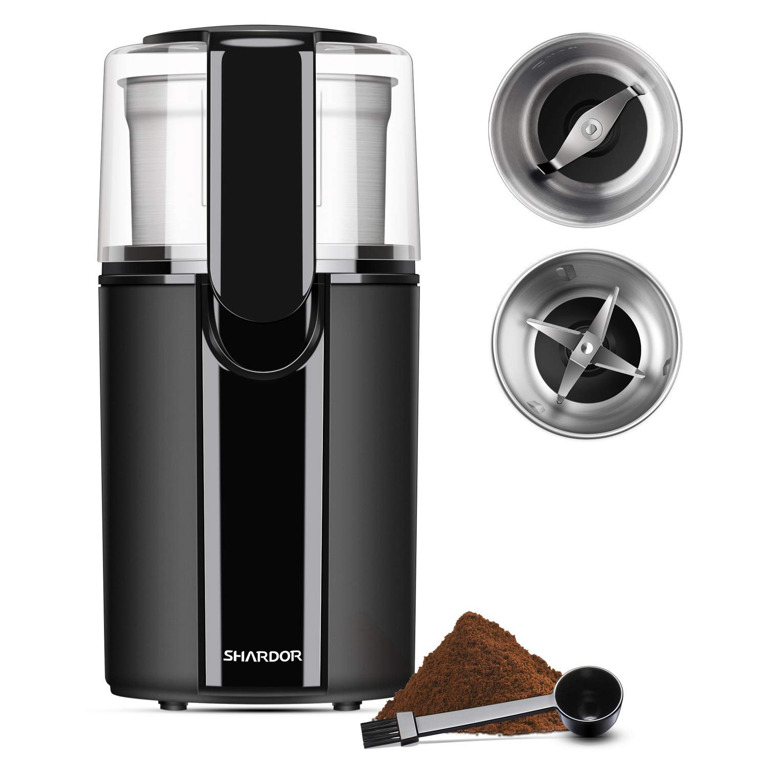SHARDOR Coffee & Spice Grinder Electric, 2 Removable Stainless Steel Bowls for dry or wet grinding, Black. …