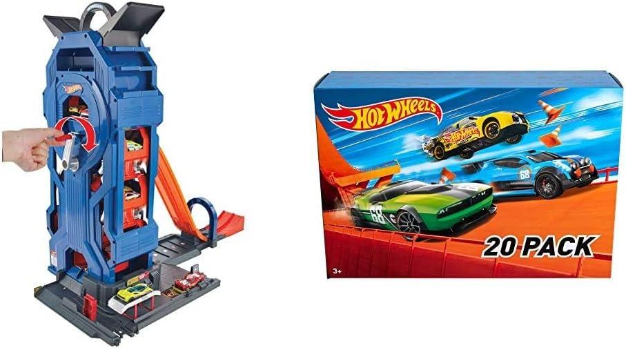 Hot Wheels- Supergaraje, Garaje para Coches de Juguete, Multicolor (Mattel GWT34) + Wheels - Pack De 20 Vehículos con Embalaje de Cartón, Coches de Juguete (Modelos Surtidos) (Mattel DXY59): Amazon.es: Juguetes y juegos