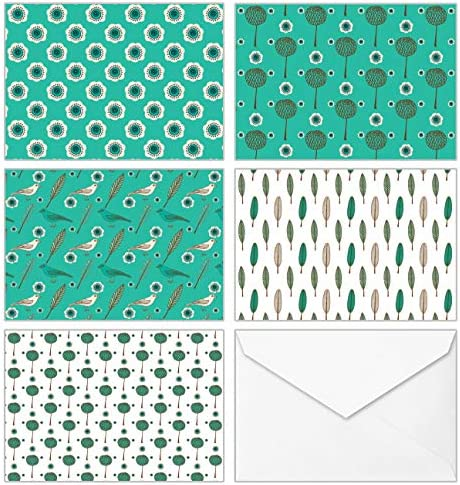 100 All Occasion Assorted Blank Cards 5 Green Pattern Designs Stationery with White Envelopes and Stickers Bulk Box Greeting Set of Seamless Symmetrical Design Notes, 4 x 6 Inch
