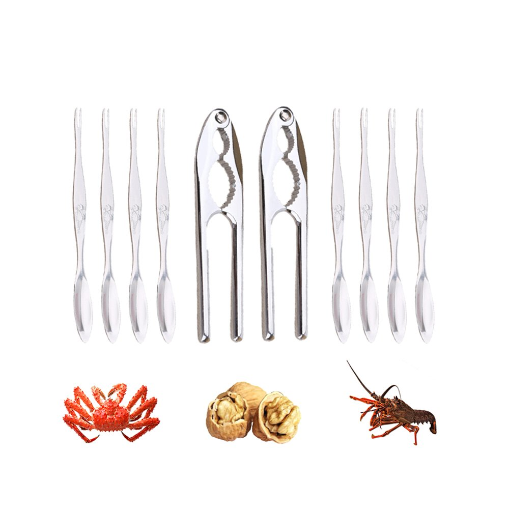 HOT SEAL® Upgrade Version 2.0 10-piece Seafood Tools Set, Including 2 Lobster Crackers Crabs Pliers, 8 Seafood Forks and a Healthy PP Box (2 Pliers + 10 forks) US-HWD-2 Pliers + 10 forks