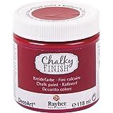 RAYHER Chalky Finish auf Wasser-Basis, Kreide-Farbe für Shabby-Chic, Vintage und Landhaus-Stil, klassikrot, 118 ml für ca. 2,7 m²