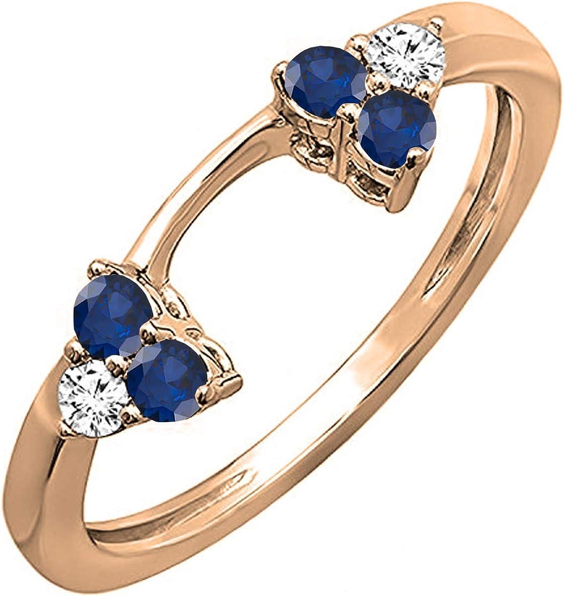 Dazzlingrock Collection 14K Gold Round Blue Sapphire & White Diamond Ladies Wedding Ring Matching Guard Band