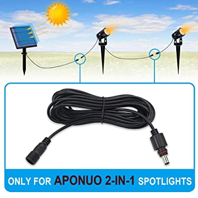 APONUO 16.4ft Extension Cable 1 Pack DC Extension Wire Extension Cord Waterproof IP65 16.4ft per Cables Only Solar Spotlight 2-in-1 Not Suitable for 4-in-1 Spotlight : Garden & Outdoor