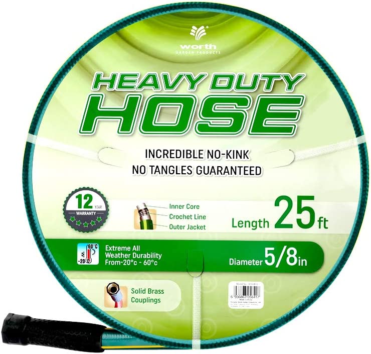 Solution4Patio Homes Garden 5/8 in. x 25 ft. Garden Hose, Brass Fittings, No Kink, No Leaking, High Water Pressure, for Extremely Weather, Heavy Duty, 12 Year Warranty, No DOP, Environmental-Friendly