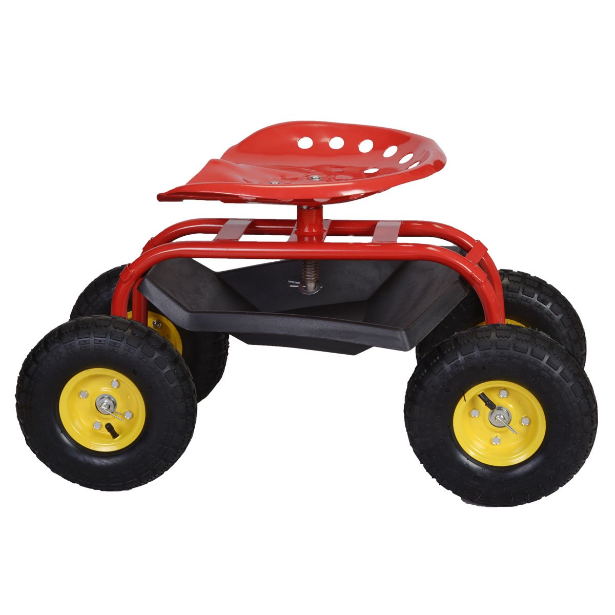 Garden Kneelers, Pads & Seats Home & Garden Red Outsunny Gardening Planting Rolling Cart & Tool Tray Outdoor Seat Trolley Beautiful And Charming