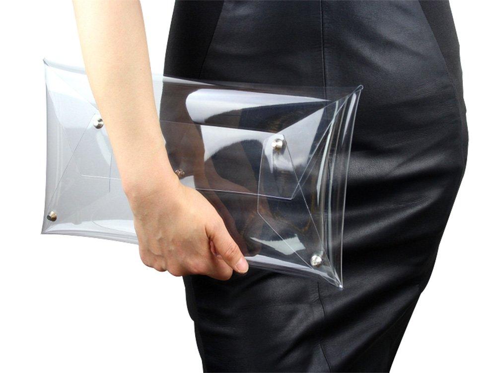 Flada Women's PVC Clear Clutch Transparent Handbag Purse Casual Messenger Bag