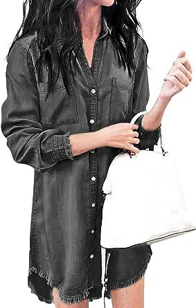 Eledobby Womens Casual Long Sleeves Denim Shirt Dress Long Tops Blouse Clothes Button Down Tunic Top