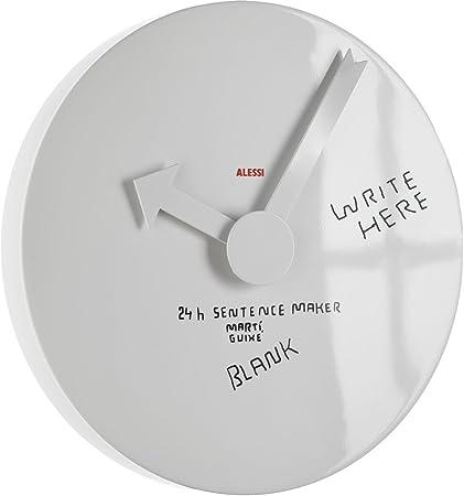 Alessi - MGU02 1 - Blank wall clock Orologio da parete in alluminio,  bianco. Incompiuto, con pennarello per personalizzare le ore.