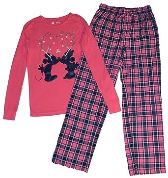 gap kids girls mickey minnie pink navy plaid christmas flannel pajamas 14