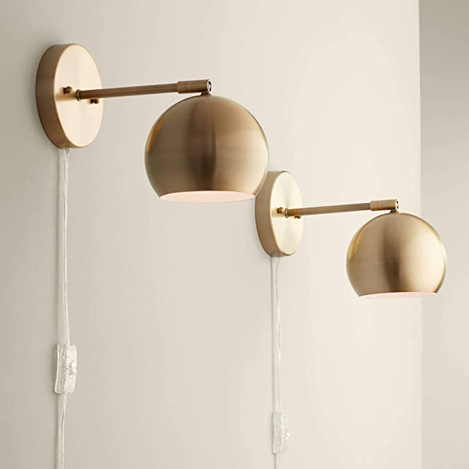Selena Indoor Wall Lights Led With Cord Set Of 2 Antique Brass Metal Plug In Light Fixture Sphere Shade Pin Up For Bedroom Bedside House Reading Living Room Home Hallway Dining