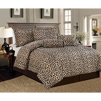 beautiful 7 pc leopard animal print faux fur king size comforter bedding set