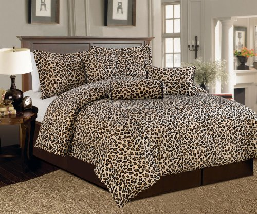 Set Bedding Print (Beautiful 7 Pc Brown and Beige Leopard Print Faux Fur, Queen Size Comforter Bedding Set)