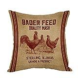 Moslion Vintage Like Chicken Feed Sack Burlap Pillow,Home Decor Throw Pillow Cover Cotton
