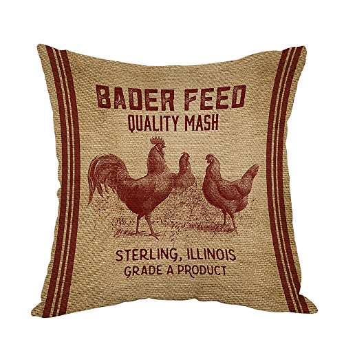 Moslion Vintage Like Chicken Feed Sack Burlap Pillow,Home Decor Throw Pillow Cover Cotton Linen Cushion for Couch/Sofa/Bedroom/Livingroom/Kitchen/Car 18 x 18 inch Square Pillow (Vintage Feed)