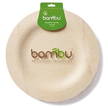 BAMBU \u2013 11\u201d Bamboo Veneerware Disposable Plates Package of 8 \u2013 Compostable \u0026 Eco  sc 1 st  Amazon.com & Amazon.com: BAMBU \u2013 11\u201d Bamboo Veneerware Disposable Plates Package ...