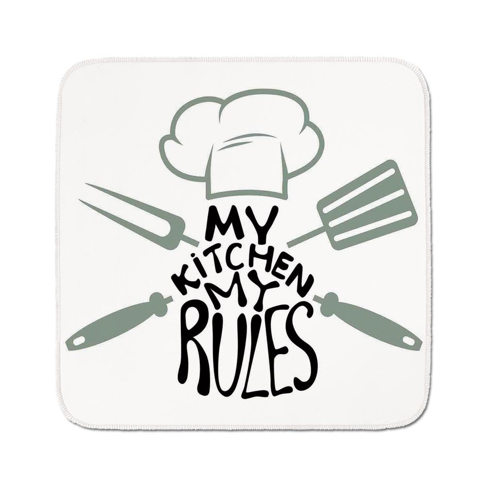Cozy Seat Protector Pads Cushion Area Rug,Kitchen Decor,Cooking Design My Kitchen My Rules Decoration Quotes Chefs Hat and Uniform Utensils,Black White,Easy to Use on Any Surface