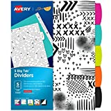 #3: Avery + Amy Tangerine Designer Collection Big Tab Dividers, Black and White Ink-Spiration, 5-Tab Set (11393)
