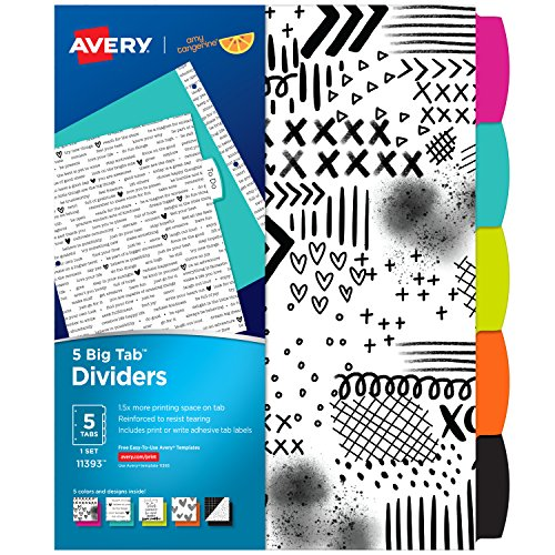 - Avery + Amy Tangerine Designer Collection Big Tab Dividers, Black and White Ink-Spiration, 5-Tab Set (11393)