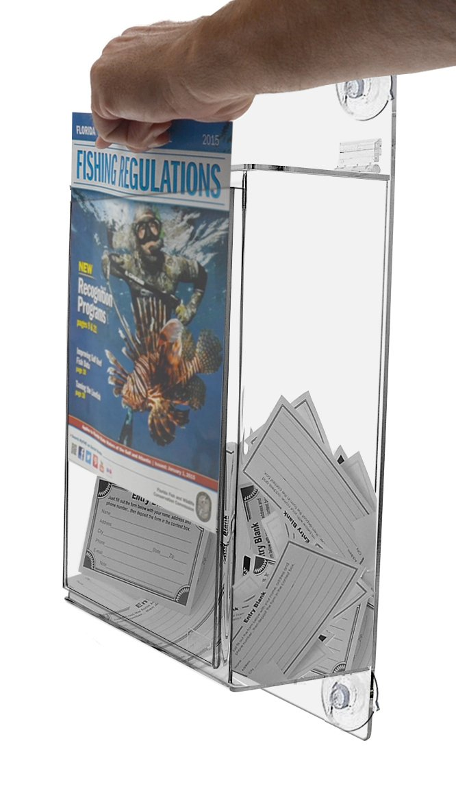 Marketing Holders Wall Mounted Suction Cup Suggestion, Clear Donation Box with Lock and Sign Holder by Marketing Holders