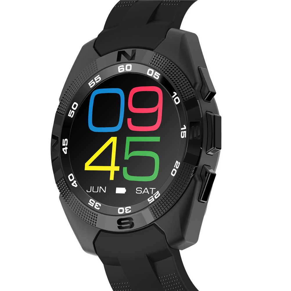 UKCOCO G5 Bluetooth Smart Watch LED de visualización de la luz con monitor de ritmo cardíaco para Android e iOS Watchphone (Negro)