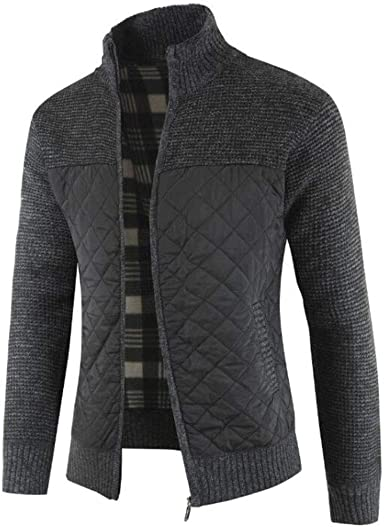 Men's Casual Knitted Sweater Cardigan Warm Long Sleeve Sweater Coat