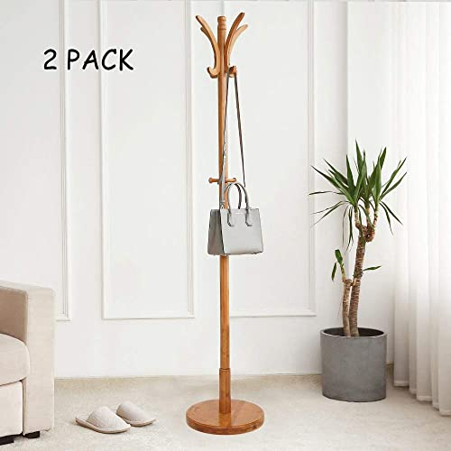 Dporticus 2 Set 67 Bamboo Coat Rack with 11 Hooks Round Base Free Standing Jacket Coat Tree Stand for Bedroom Living Room or Office, Natural Finish