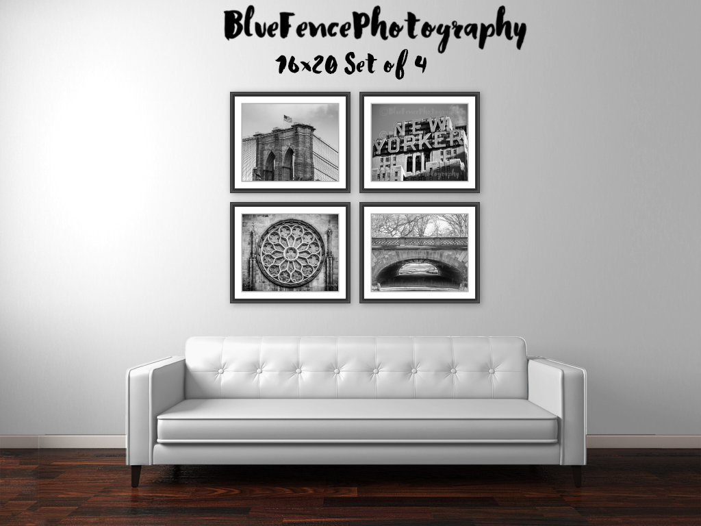 New York City Set of Four, Photography NY Art Photograph Print Home Wall Decor, Brooklyn Bridge, New Yorker Hotel, Stained Glass, Greyshot Arch in Central Park