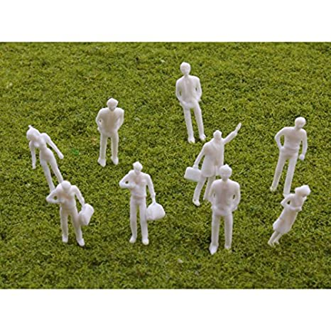 HO Scale 100pcs HO Scale 1:100 White Model People Unpainted Train Figures HP
