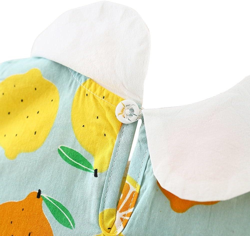 Sunhat 2Pcs Clothes Set Gyratedream Girls Summer Dresses 0-3 Years Baby Princess Dress Sleeveless Fruit Printed Dress