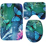 WCHUANG Butterfly Bath Rug Set Kids Baby Non-slip Bathroom Mats, Flannel (butterfly 3)