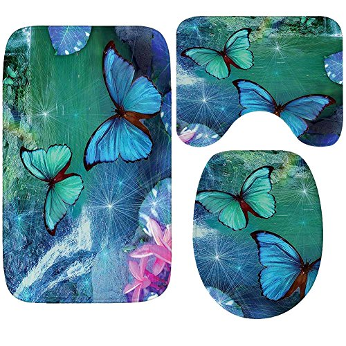WCHUANG Butterfly Bath Rug Set Kids Baby Non-slip Bathroom Mats, Flannel (butterfly 3) by WCHUANG